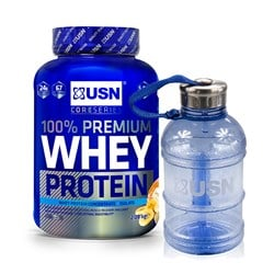 100% Premium Whey Protein + Water Bottle 1.1L - 2280g+1szt