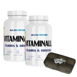 2xVitaminALL Vitamins & Minerals + Pillbox - 2x120caps+1szt