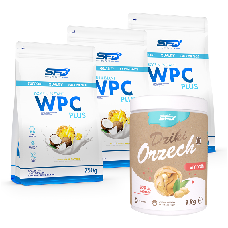 SFD NUTRITION 3x WPC Protein Plus 750g + Dziki Orzech 1000g GRATIS