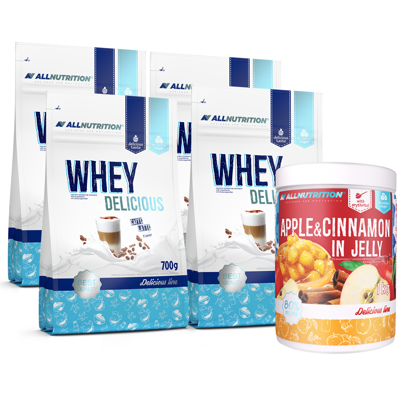 ALLNUTRITION 4x Delicious Protein 700g + Apple Cinnamon in Jelly 1000g GRATIS
