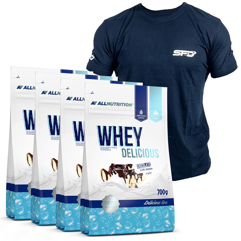 ALLNUTRITION 4x Whey Delicious Protein 700g+T-Shirt Athletic Granatowy GRATIS