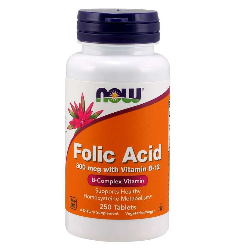 Now Folic Acid 800 mcg with Vitamin B-12 Tablets