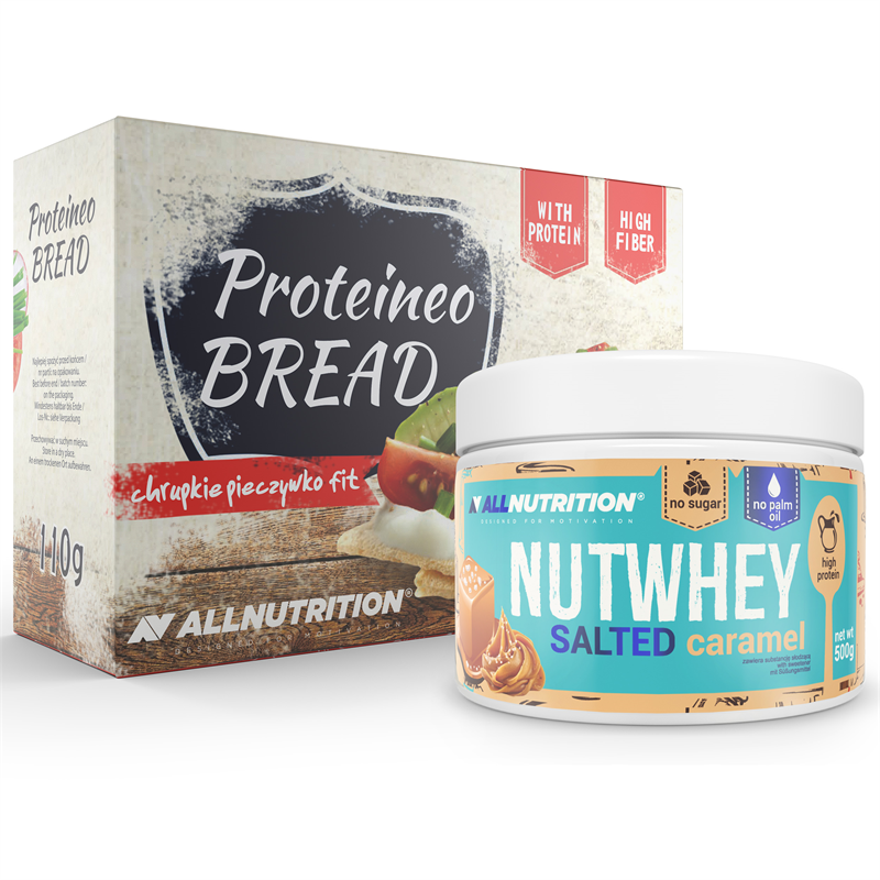 ALLNUTRITION Nutwhey Salted Caramel 500g + Proteineo Bread 110g GRATIS