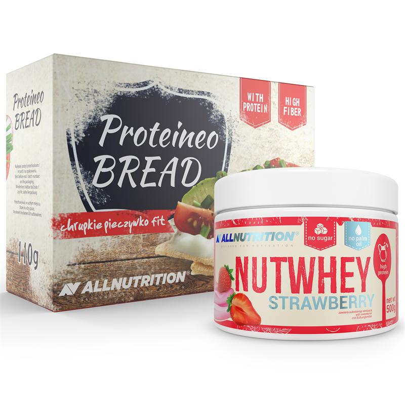 ALLNUTRITION Nutwhey Strawberry 500g + Proteineo Bread 110g GRATIS