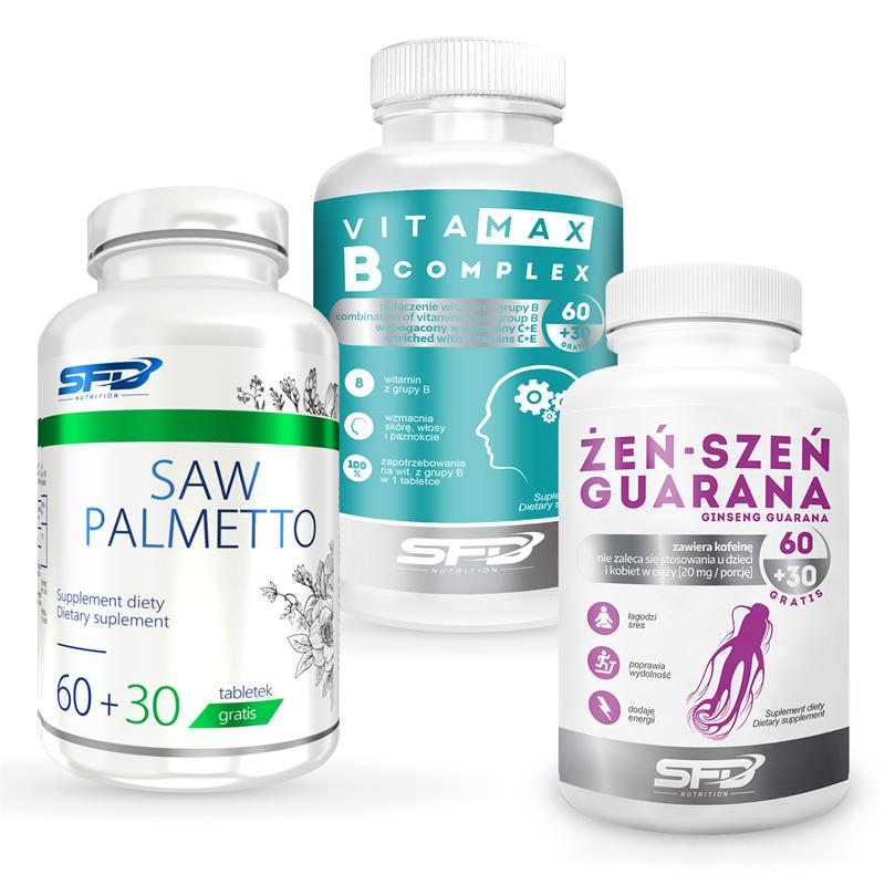 SFD NUTRITION Saw Palmetto + B Complex + Żeń-Szeń Guarana