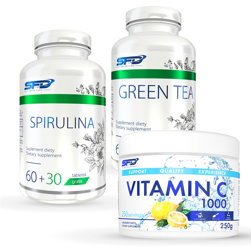 SFD NUTRITION Vitamina C 250g + Green Tea 90tab + Spirulina 90tab