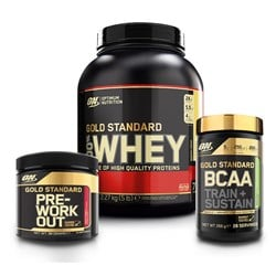 Whey Gold + BCAA Train+Sustain + Pre-Workout - 2270g+266g+88g